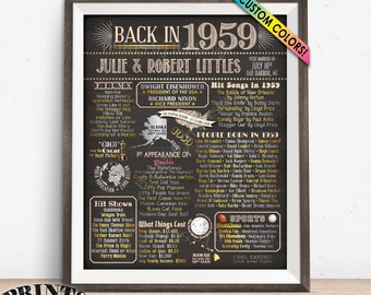 """1959 Anniversary Poster, Back in 1959 Flashback to 1959 Anniversary Party Decorations, Custom PRINTABLE 16x20"""" Sign"""