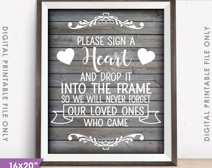 """Guestbook Hearts Sign, Sign a Heart, Guest Book Alternative, Wooden Hearts Sign, PRINTABLE 8x10/16x20"""" Rustic Wood Style Wedding Sign <ID>"""