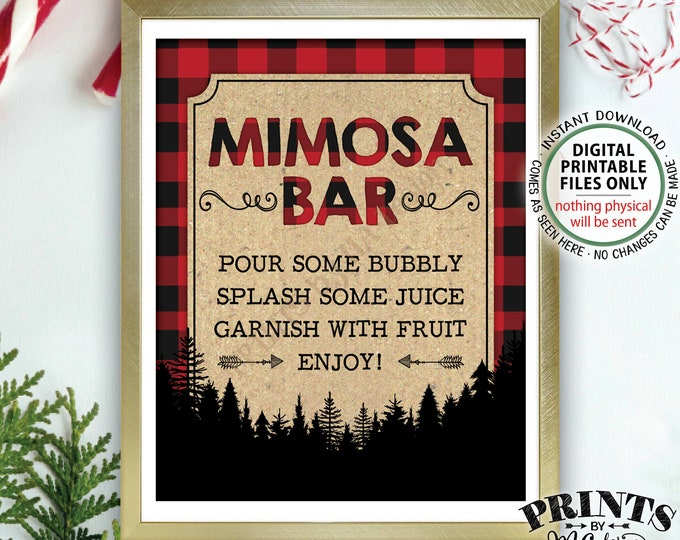 "Lumberjack Mimosa Bar Sign, Make your own Mimosa, Bridal Shower Birthday Brunch, Red Checker Plaid, Christmas, PRINTABLE 8x10"" Sign <ID>"