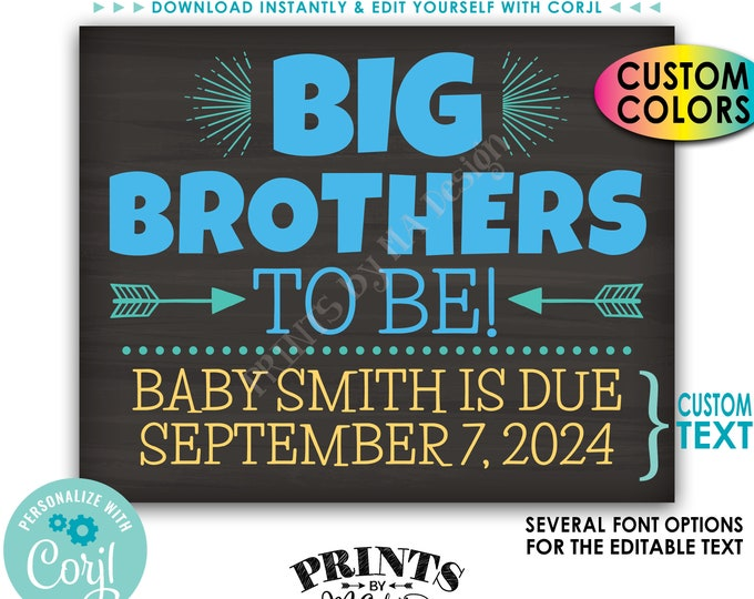 "Big Brothers Pregnancy Announcement, Custom PRINTABLE 8x10/16x20"" Chalkboard Style Baby Reveal Sign <Edit Yourself with Corjl>"