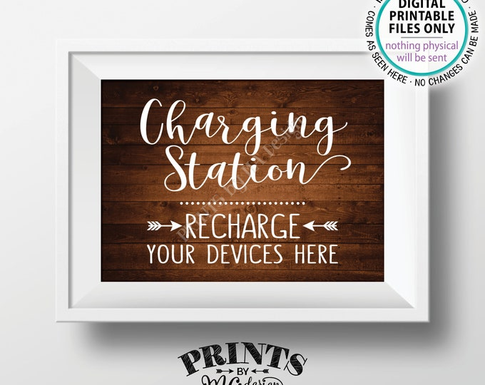 """Charging Station Sign, Recharge Your Devices Here, Charge Your Phone Charge Bar, Recharge Here, PRINTABLE 5x7"""" Rustic Wood Style Sign <ID>"""