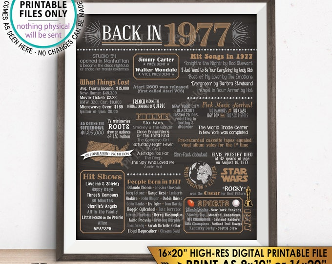 "1977 Flashback Poster, Flashback to 1977 Birthday Anniversary Reunion, USA History Back in 1977, PRINTABLE 16x20"" Sign <ID>"