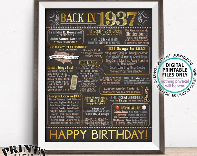 """Back in 1937 Birthday Sign, Flashback to 1937 Poster Board, 1937 B-day Gift, Bday Decoration, PRINTABLE 16x20"""" Sign <ID>"""