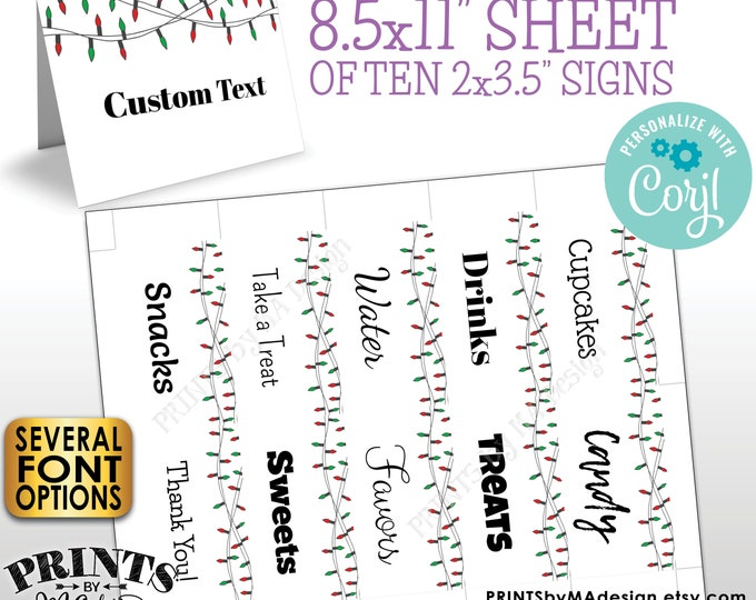 "Christmas Place Cards, Red & Green Christmas Lights, Buffet Food, One PRINTABLE 8.5x11"" Sheet of 2x3.5"" Labels <Edit Yourself with Corjl>"