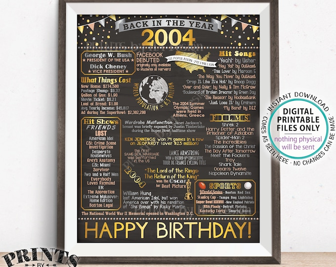 "Back in 2004 Birthday Sign, Flashback to 2004 Poster Board, '04 B-day Gift, Bday Decoration, PRINTABLE 16x20"" Sign <ID>"