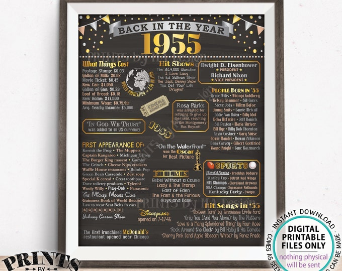 "Back in the Year 1955 Poster Board, Remember 1955 Sign, Flashback to 1955 USA History from 1955, PRINTABLE 16x20"" Sign <ID>"