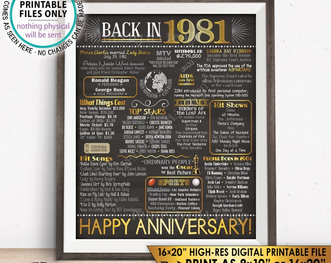 """1981 Anniversary Poster, Back in 1981 Anniversary Gift, Flashback to 1981 Party Decoration, PRINTABLE 16x20"""" Sign <ID>"""