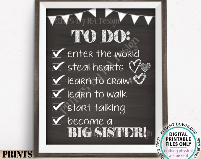 """To Do List Sign, Big Sister Checklist Sign, Pregnant with Baby #2, PRINTABLE 8x10/16x20"""" Chalkboard Style Pregnancy Announcement Sign <ID>"""