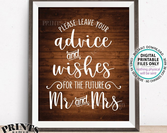 "Advice and Well Wishes for the Future Mr & Mrs, Engagement Party, Bridal Shower, PRINTABLE 8x10"" Rustic Wood Style Wedding Sign <ID>"