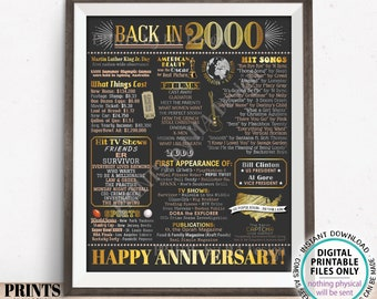 "Back in 2000 Anniversary Poster Board, Flashback to 2000 Anniversary Decor, PRINTABLE 16x20"" Sign, 2000 Anniversary Gift <ID>"