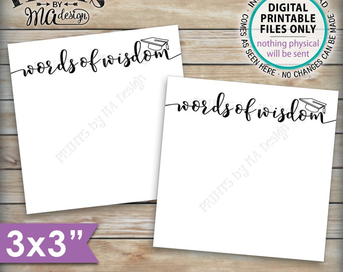 "Words of Wisdom Graduation Party Cards, Grad Advice for the Graduate, Six 3"" Cards per PRINTABLE 8.5x11"" Sheet <ID>"
