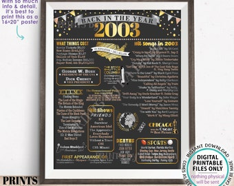 """Back in the Year 2003 Poster Board, Remember 2003 Sign, Flashback to 2003 USA History from 2003, PRINTABLE 16x20"""" Sign <ID>"""