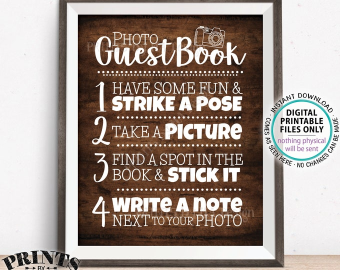 "Photo Guestbook Sign, Guest Book Wedding Sign, Graduation Memorybook Retirement Scrapbook, PRINTABLE 8x10/16x20"" Rustic Wood Style Sign <ID>"