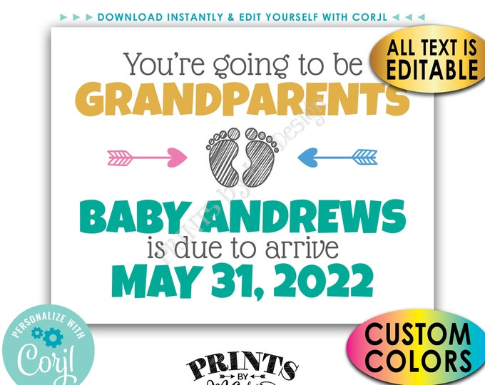 """Grandparents Pregnancy Announcement, You're Going to be a Grandpa or Grandma, Custom PRINTABLE 8.5x11"""" Sign <Edit Yourself with Corjl>"""