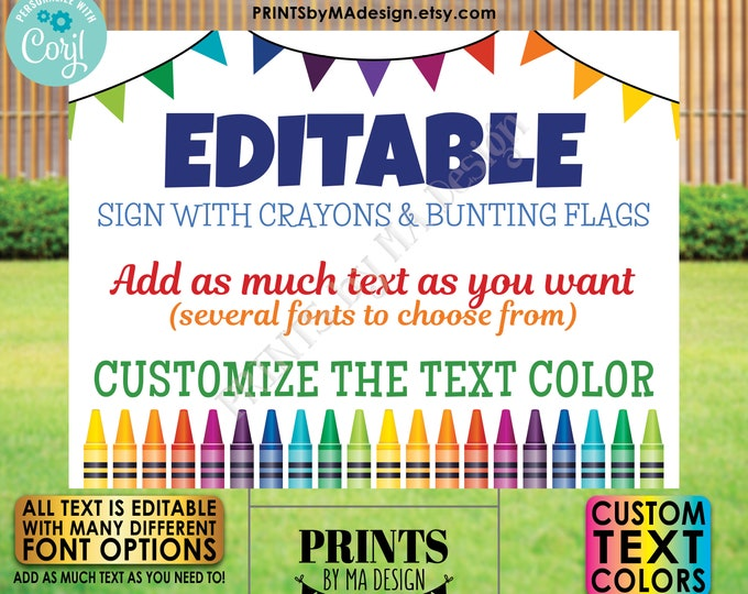 "Editable Sign with Colorful Crayons & Bunting Flags, Custom PRINTABLE 18x24"" Landscape Sign, Crayon Decor <Edit Yourself w/Corjl>"