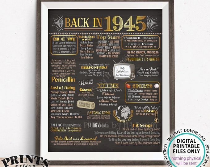 "Back in 1945 Poster Board, Flashback to 1945, Remember 1945, USA History from 1945, PRINTABLE 16x20"" 1945 Sign <ID>"