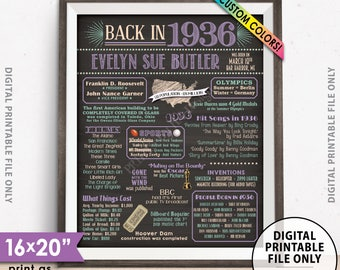"""Flashback to 1936 Poster, Back in 1936 Flashback Sign, Born in 1936 Birthday Party Decor, PRINTABLE 16x20"""" 1936 Poster"""