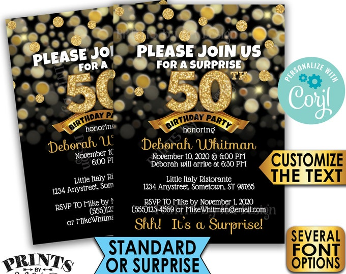 "Gold Birthday Party Invitation, Standard or Surprise Party, PRINTABLE 5x7"" Black and Gold Glitter Birthday Invite <Edit Yourself with Corjl>"