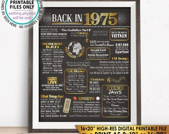 "1975 Flashback Poster, Flashback to 1975 USA History Back in 1975 Birthday Anniversary Reunion, PRINTABLE 16x20"" Sign <ID>"