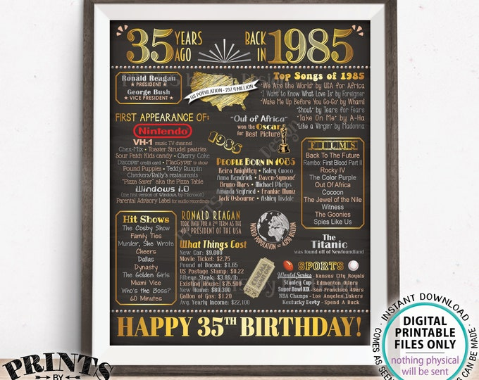 "35th Birthday Poster, Flashback 35 Years Ago Back in 1985 Poster Board, PRINTABLE 16x20"" Born in 1985 Flashback Sign <Instant Download>"
