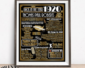 "Back in the Year 1920 Birthday Sign, Flashback to 1920 Poster Board, 1920 Birthday Gift, Custom PRINTABLE 16x20"" Art Deco Style Sign"