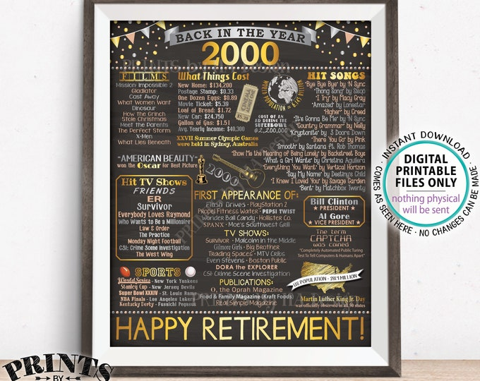 "Retirement Party Decoration, Back in 2000 Poster Board, Flashback to 2000 Retirement Party Decor, PRINTABLE 16x20"" Sign <ID>"