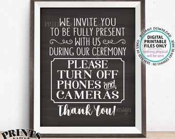 "Unplugged Ceremony Sign, Please No Phones or Cameras, Please No Cameras, Unplugged Wedding, PRINTABLE 8x10/16x20"" Chalkboard Style Sign <ID>"