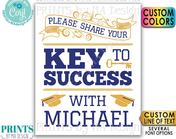 "Please share your Key to Success, Custom Graduation Advice Sign, Editable PRINTABLE 8x10/16x20"" Grad Sign <Edit Yourself w/Corjl>"
