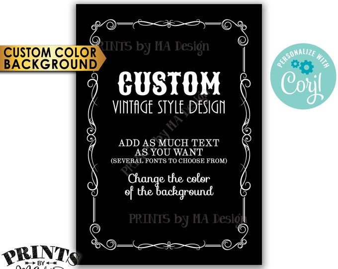 "Custom Vintage Style Sign, Better with Age Liquor Themed Party, Color Background, One PRINTABLE 5x7"" Sign <Edit Yourself with Corjl>"