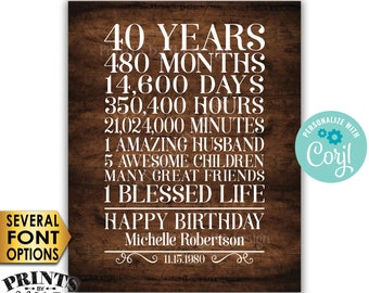 "40th Birthday Gift for a Woman, 40 Years, One Blessed Life, Custom PRINTABLE 8x10/16x20"" Rustic Wood Style Sign <Edit Yourself with Corjl>"