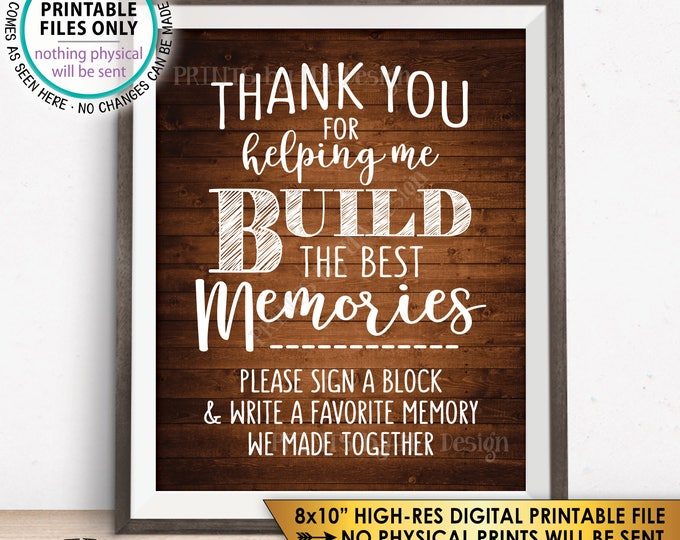 "Sign a Block Retirement Party Sign, Thank You for Helping Me Build Memories, Graduation, PRINTABLE 8x10"" Rustic Wood Style Instant Download"