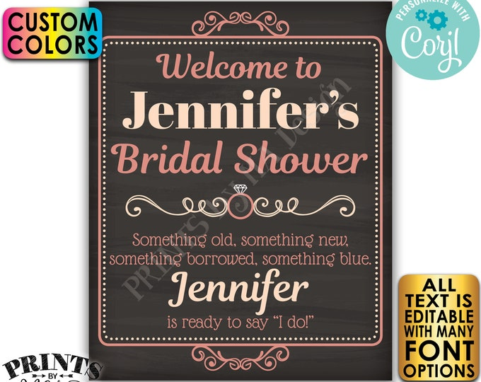"Bridal Shower Welcome Sign, Editable Bridal Shower Decor, Custom PRINTABLE 8x10/16x20"" Chalkboard Style Sign <Edit Yourself w/Corjl>"