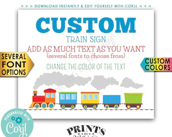 "Custom Train Sign, Railroad Birthday Party, Choose Your Text, PRINTABLE 16x20"" Landscape Train Sign <Edit Yourself with Corjl>"