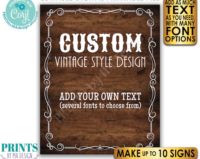 """Custom Vintage Style Sign, Better with Age Liquor Themed Party, Up to 10 PRINTABLE 16x20"""" Rustic Wood Style Signs <Edit Yourself w/Corjl>"""