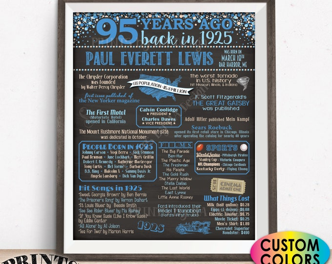 """95th Birthday Poster Board, Back in 1925 Bday Decor, Custom PRINTABLE 16x20"""" Born in 1925 Sign, Flashback 95 Years Ago to 1925 Sign"""
