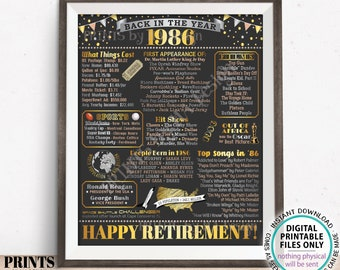 "Back in the Year 1986 Retirement Party Poster Board, Flashback to 1986 Sign, PRINTABLE 16x20"" Retirement Party Decoration <ID>"