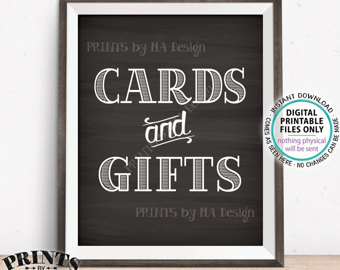 """Cards and Gifts Sign, PRINTABLE 8x10"""" Chalkboard Style Gift Table Sign, Portrait <ID>"""