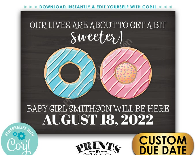 """It's a GIRL Donut Pregnancy Announcement Sign, PRINTABLE Chalkboard Style 8x10/16x20"""" Gender Reveal Sign <Edit Yourself with Corjl>"""