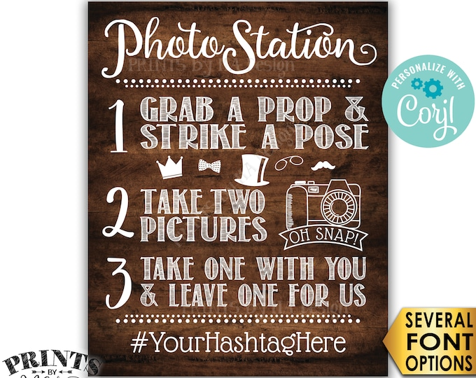 """Photo Station Sign, Take 2 Pictures & Leave One For Us, Custom PRINTABLE 8x10/16x20"""" Rustic Wood Style Sign <Edit Yourself with Corjl>"""