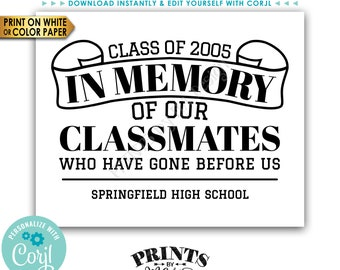 """Reunion Memorial, In Memory of the Classmates Who Have Gone Before Us, PRINTABLE 8x10/16x20"""" B&W In Memoriam Sign <Edit Yourself with Corjl>"""