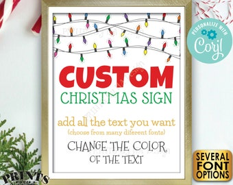 "Custom Christmas Lights Sign, Choose Your Text, Create One Custom PRINTABLE 8x10/16x20"" Xmas Party Sign <Edit Yourself with Corjl>"