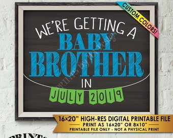 "We're Getting a Baby Brother Pregnancy Announcement, It's a Boy Gender Reveal Photo Prop, Chalkboard Style PRINTABLE 8x10/16x20"" Sign"
