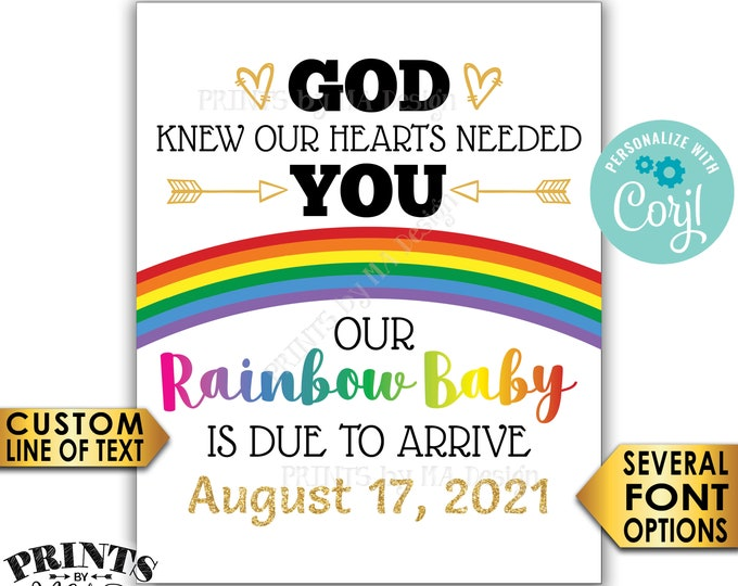 """Rainbow Baby Pregnancy Announcement, God Knew Our Hearts Needed You, PRINTABLE 8x10/16x20"""" Baby Reveal Sign <Edit Yourself with Corjl>"""