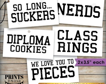 """Graduation Party Candy Signs, Candy Bar, Candy Buffet, Smartie Cookie Class Ring Nerds Worms, 2x3.5"""" cards on PRINTABLE 8.5x11"""" Sheet <ID>"""