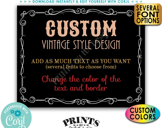 """Custom Vintage Style Sign, Black Background, Better with Age Liquor Themed Party, One PRINTABLE 8x10/16x20"""" Sign <Edit Yourself with Corjl>"""