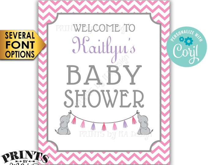 """Elephant Baby Shower Welcome Sign, It's a Girl Pink Chevron, PRINTABLE 16x20"""" Baby Shower Sign <Edit Yourself with Corjl>"""