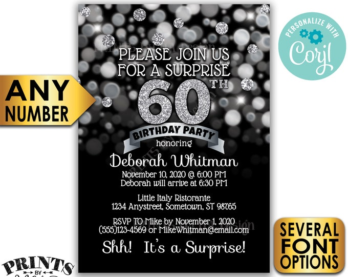 "Surprise Birthday Party Invitation, Any Birthday, Black & Silver Glitter PRINTABLE 5x7"" Surprise Bday Invite Card <Edit Yourself with Corjl>"