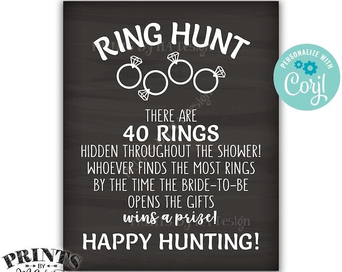 Ring Hunt Game Sign, Bridal Shower Ring Scavenger Hunt Game for Wedding Shower, PRINTABLE Chalkboard Style Sign <Edit Yourself with Corjl>