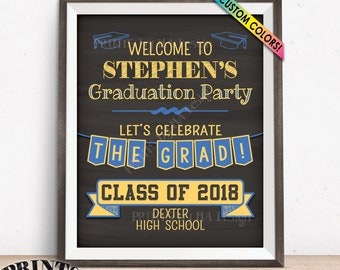 """Graduation Sign, Welcome to the Graduation Party Decorations, Graduation Party Welcome Sign, PRINTABLE 8x10/16x20"""" Chalkboard Style Sign"""