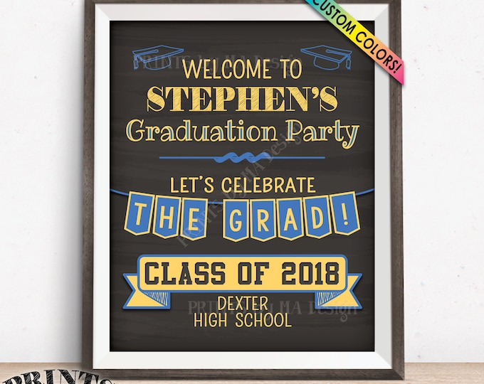"Graduation Sign, Welcome to the Graduation Party Decorations, Graduation Party Welcome Sign, PRINTABLE 8x10/16x20"" Chalkboard Style Sign"